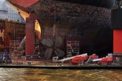 Ship building dock. Shipyard in Hamburg, Germany Stock Photo