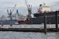 Ship building dock. Shipyard in Hamburg, Germany Stock Photos