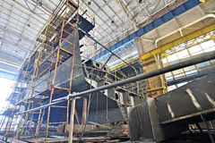 Ship building and scaffolding Stock Images