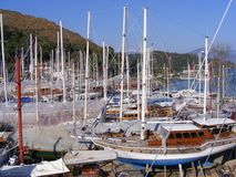 Ship Building Turkey. Boatyard in Fethiye, Southwest Turkey. Traditional wooden boats are built and repaired here Royalty Free Stock Images
