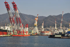 Ship building docks. Shipyard in Kure, Japan Stock Photos