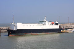 Ship in Calais Harbour Royalty Free Stock Image