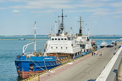 Ship came into the port of Odessa Stock Photo