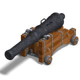 Ship cannon. 3D rendering with clipping path and shadow over white Stock Photography