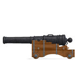 Ship cannon. 3D rendering with clipping path and shadow over white Stock Image