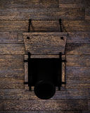 Ship Cannon. The mouth of a cannon out of the hatch of a warship royalty free stock photos