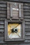 Ship Cannon Window stock photo