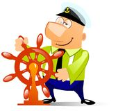 Ship captain at the helm. Cartoon illustration of a ship captain at the helm. Isolated on white Stock Photo