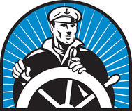 Ship captain helmsman steering wheel Stock Photography