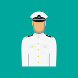 Ship captain in uniform in flat style. Vector illustration. Royalty Free Stock Images