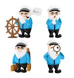 Ship captain in uniform on sea cartoon sailor characters set captain different facial expressions. Happy sad smile surprised, seri vector illustration
