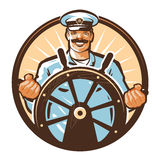 Ship captain vector logo. cruise, journey, tour, trip or travel icon Stock Photo