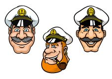 Ship captains in white peaked caps. Ship captains in cartoon style with cheerful smiling men with gray moustaches, with white peaked caps and tobacco pipe for Stock Photography