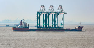 Ship with cranes Royalty Free Stock Image