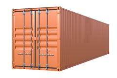Brown ship cargo container side view 40 feet length. Ship cargo container 40 feet length. Brown metallic freight box isolated on white background. Marine Royalty Free Stock Photography