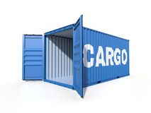 Ship cargo container side view with cardboard boxes. Empty ship container with the word CARGO on the side, with open doors, isolated on white background. 3D Stock Photo