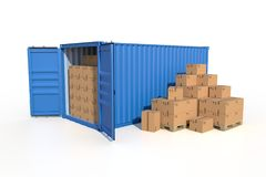 Ship cargo container side view with cardboard boxes. Ship cargo container side view, open doors, full with cardboard boxes. Pile of cardboard boxes on pallet. 3D Royalty Free Stock Photos