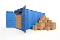 Ship cargo container side view with cardboard boxes. Ship cargo container side view, open doors, full with cardboard boxes. Pile of cardboard boxes on pallet. 3D Royalty Free Stock Images