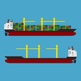 Ship. Cargo ship with containers and empty ship Royalty Free Stock Photos