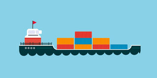 Ship cargo sea transportation vector illustration. Stock Photo