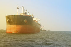 Ship. Cargo ship underway viewed from bow Royalty Free Stock Photography
