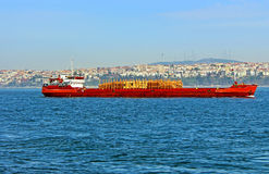 Ship carrier with timber, Istanbul, Turkey royalty free stock photo