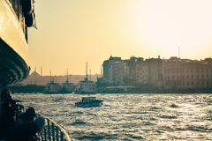 The ship carries passengers along the Bosporus Strait.n Royalty Free Stock Photo