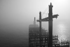 Ship caught in fog royalty free stock photo