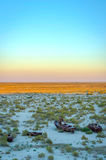 Ship cemetery, Aral Sea, Uzbekistan. Old ships in the desert `ship cemetery` the consequence of Aral sea disaster, Muynak, Uzbekistan Stock Photos