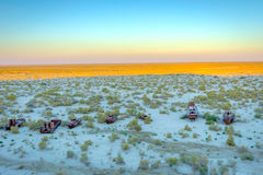 Ship cemetery, Aral Sea, Uzbekistan. Old ships in the desert `ship cemetery` the consequence of Aral sea disaster, Muynak, Uzbekistan Royalty Free Stock Photo
