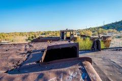 Ship cemetery, Aral Sea, Uzbekistan. Old ships in the desert `ship cemetery` the consequence of Aral sea disaster, Muynak, Uzbekistan Stock Photo