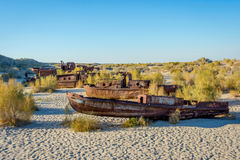 Ship cemetery, Aral Sea, Uzbekistan Stock Photo