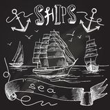 Ship chalkboard poster Royalty Free Stock Photos