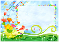 Ship in childhood. Bright child card with a ship butterflies the sun in the sky, blooming flowers  and birds Stock Photos