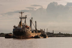 Ship in Choa Praya river, Bangkok Thailand. At sunset time Royalty Free Stock Photos