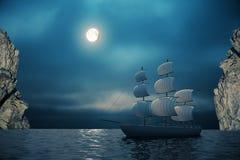 Ship and cliffs at night Royalty Free Stock Image