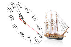 Ship and clock Stock Image