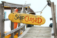 Ship closed. Old wood notice board/Ship closed Royalty Free Stock Photos