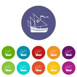 Ship of Columbus set icons Stock Images