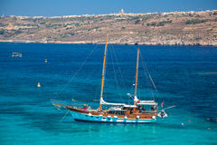 Ship at Comino island, Malta Stock Photo