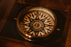 Ship compass. Old ship`s compass. tool for determining the coordinates Royalty Free Stock Photos