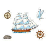 Ship, compass, seagull, rope and steering wheel. Nautical set of ship, compass, seagull, rope and steering wheel, cartoon vector illustration isolated on white Stock Image