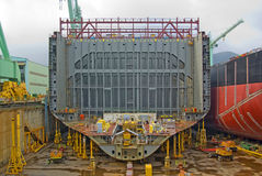 Ship in Construction. Image of ship under construction showing the internal steelwork Stock Photography