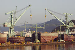 Ship in Construction. A view of a ship in construction on the dockside Royalty Free Stock Photos