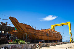 Ship construction in dockyard Stock Photography