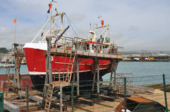 Ship construction yard, Newlyn dock, Cornwall, Britain Stock Photo
