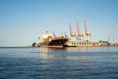 Ship, container ship is moored in port Stock Photo