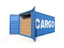 Ship cargo container side view with cardboard boxes. Ship container with the word CARGO on the side, with open doors, full with cardboard boxes, isolated on Royalty Free Stock Photos