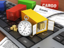 Ship containers on the keyword. Concept of delivering, shipping or logistics stock photography
