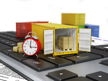 Ship containers on the keyword. Stock Photo